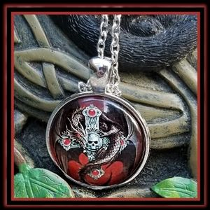 Handmade Celtic Cross, Skull & Dragon Necklace